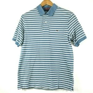 Vineyard Vines Baby Blue White Striped Polo Shirt